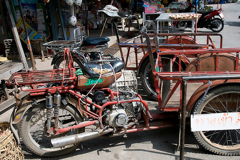 A market in the town of Uthaithani where they still use some pretty old transportation.