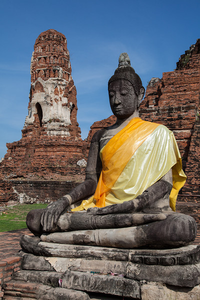 A Buddha image at Wat Ratchaburana in Ayutthaya.