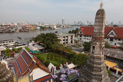 A view from Wat Arun toward the southeast overlooking the Chao Phraya.