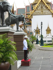 Guard in front of Chakri Mahaprasad Hall, Grand Palace, Bangkok