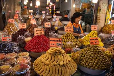 Fruits for sale at a market next to Wat Mongkhon Bophit in Ayutthaya.