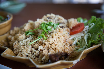 Lunch in Ayutthaya. Yum pla dook foo - fried minced catfish. It is served with a spicy mango salad (not pictured).