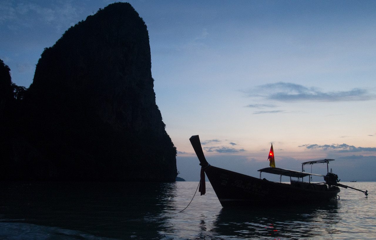 Longtail boat at sunset, Railay Beach, Thailand