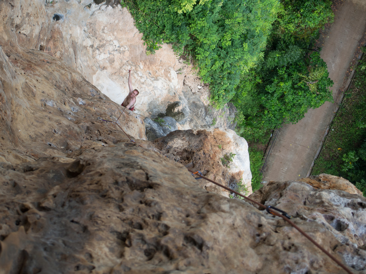 View from the top of 'Beauty and Beast', a perfect 3 pitch 6b climb