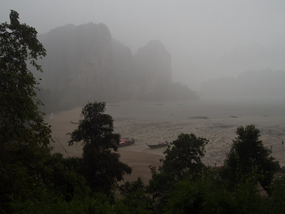 Massive rainstorm that swept in while we were on our first climb