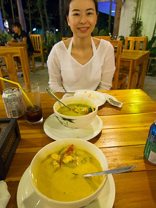 Dinner (T-to-B) of green and red curry with chicken.