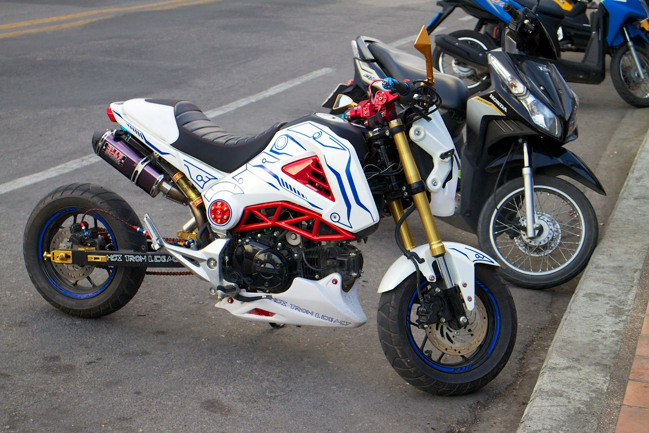 Honda Grom with a stretched swingarm