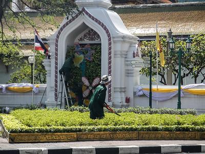 Gardening at Wat Suthat, Bangkok.