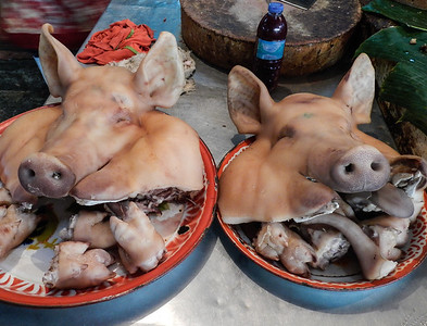 Anyone hungry? Pigs heads, ears and feet.