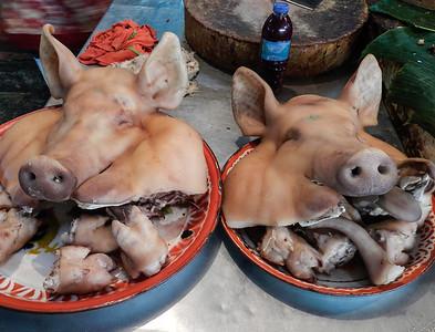 Anyone hungry? Pigs heads, ears and feet.
