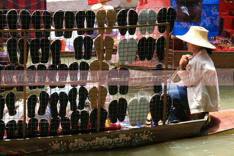Footwear vendor at floating garden