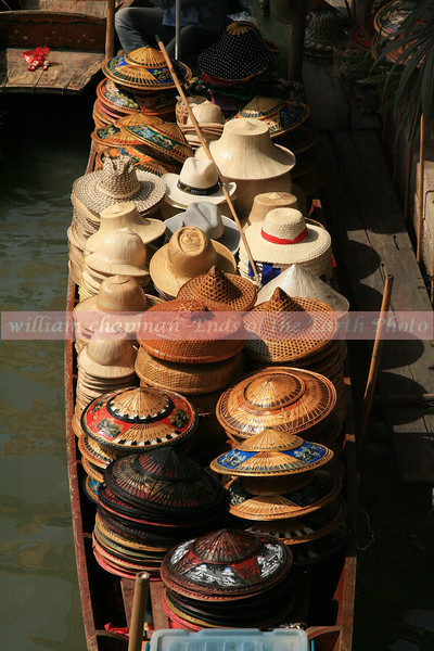 Hat display at floating market