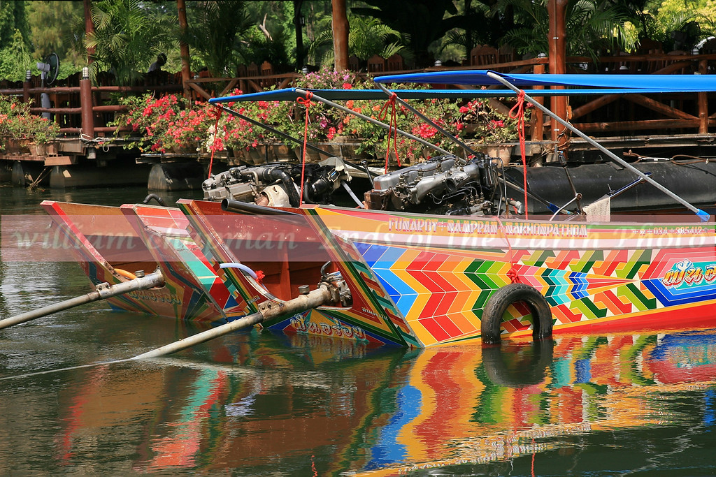 Long Tail boats along the Kwai River