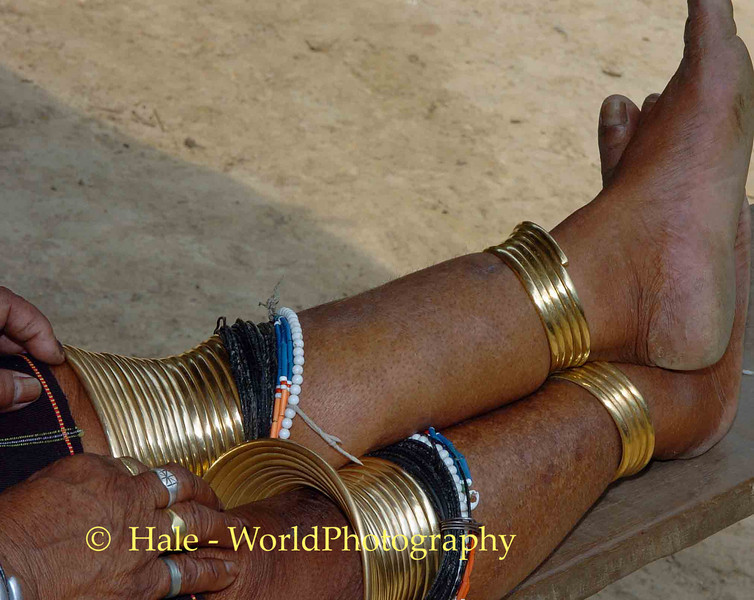 Mature Kayaw Hill Tibe Woman's Leg Ornaments, Maehongson Thailand