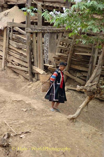 Lahu Hill Tribe Elderly Woman Walking Towards Home, Maehongson Thailand