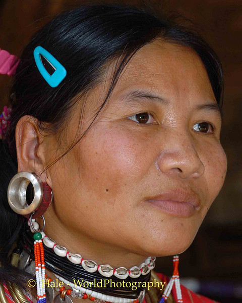 Mature Kayaw Hill Trbe Woman with Enlarged Ear Lobe, Maehongson, Thailand