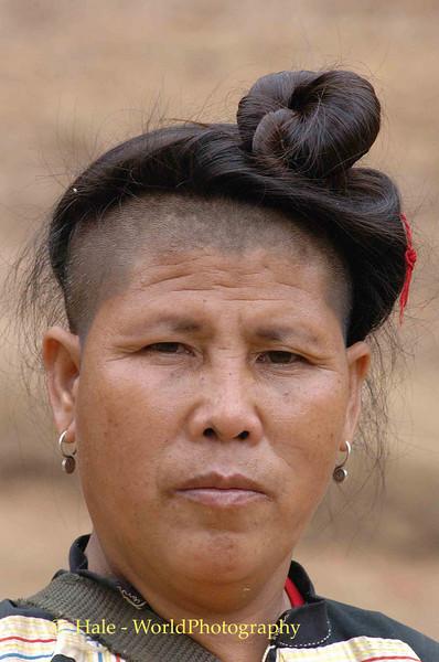 Lahu Hill Tribe Woman With Traditional Hair, Maehongson, Thailand