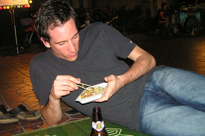 Stuart eating street food
