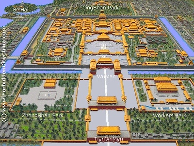 Overview of the Forbinnen City.  The entrance is the structure that interrupts the moat.  There is an exit that allows you to cross the street and go to JingShan Park.