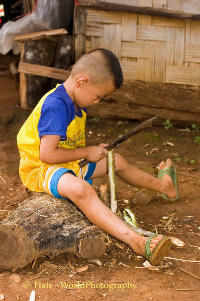 Hmong Boy With Large Knife, Chiang Mai, Thailand