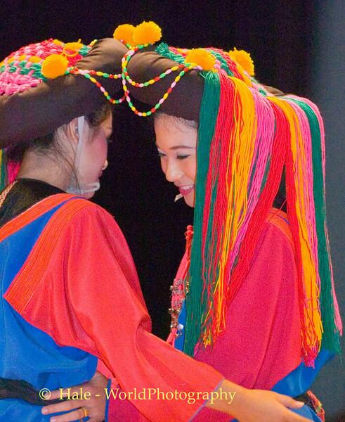 Khantoke Restaurant Show Dancers In Lisu Costume, Chiang Mai, Thailand