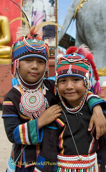 Young Ahka Girls Wearing Traditional Outfits, Sop Ruak, Golden Triangle of Thailand
