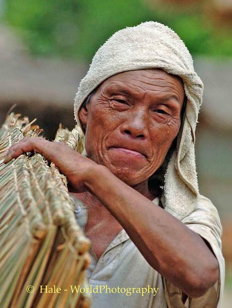 Ahka Hill Tribe Elderly Man Carrying Woven Roof Panels, Chiang Rai, Thailand