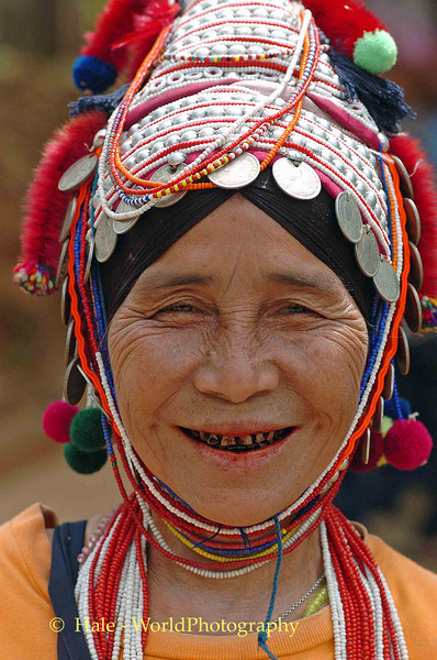 Ahka Hill Tribe Elderly Woman Wearing Traditional Hat, Chiang Rai, Thailand