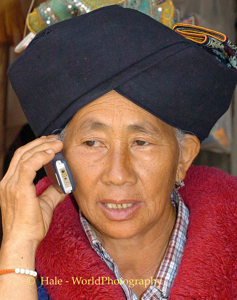 Yao Hill Tribe Woman Making Cell Phone Call, Chiang Rai, Thailand