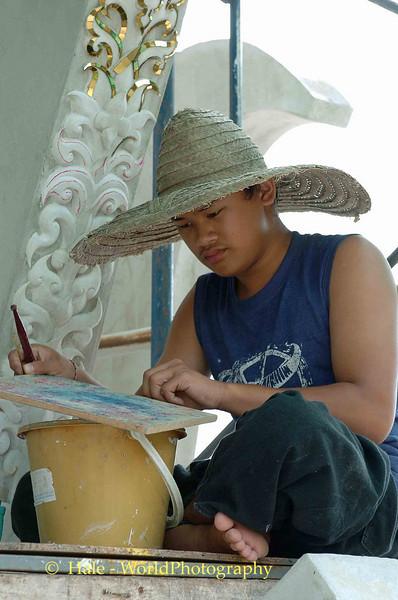 Craftsman Working On Wat Rong Khun, Pa-or-donchai, Thailand