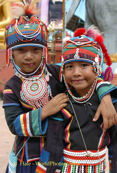 Young Ahka Friends in Traditional Dress, Golden Triangle Area Thailand
