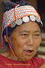 Ahka Hill Tribe Elderly Woman Wearing Traditional Hat, Chiang Rai, Thailand