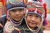 Young Ahka Girls Wearing Traditional Hats, Sop Ruak, Golden Triangle of Thailand