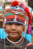 Young Ahka Girl Wearing Traditional Hat, Sop Ruak, Golden Triangle of Thailand