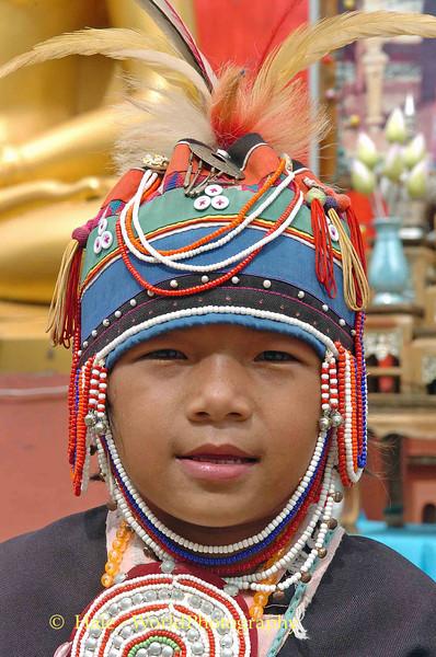 Young Ahka Girl Wearing Traditional Dress, Sop Ruak, Golden Triangle of Thailand