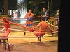A demonstration of Muay Thai, Thai kickboxing.