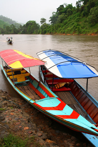 Longtail boats on the Mae Kok River (Chiang Rai Province)