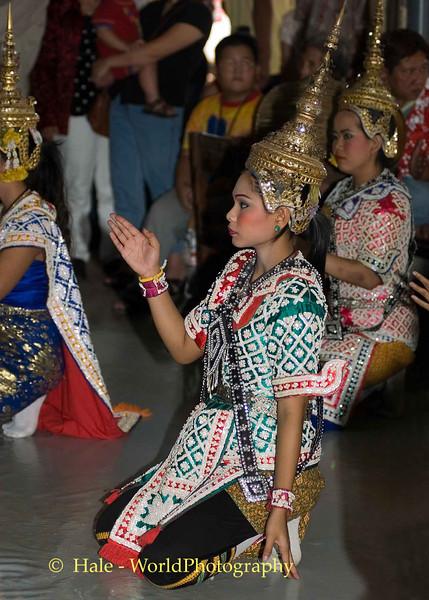 Lakhon Chatri Dancers Performing at Wat Sothon, Chachoengsao Thailand