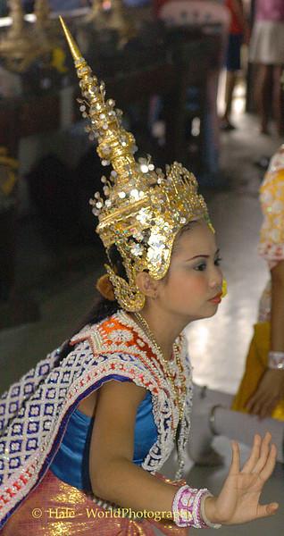Lakhon Chatri Dancer Wearing A Chada (Jeweled Crown Headdress) Performing at Wat Sothon, Chachoengsao Thailand