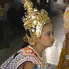 Lakhon Chatri Dancer Wearing A Chada (Jeweled Crown Headdress) Performing at Wat Sothon, Chachoengsao Thailand