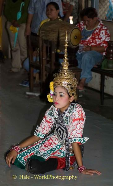 Lakhon Chatri Dancer Wearing A Chada Waiting to Perform at Wat Sothon, Chachoengsao Thailand