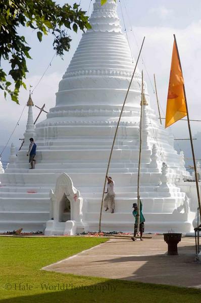 Repainting A Chedi at Wat Phra That Doi Kong Mu, Maehongson Thailand