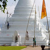 Repainting A Chedi at Wat Phra That Doi Kong Mu, Maehongson Thailand