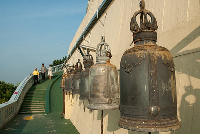 Large bells at The Golden Mount, Bangkok, Thailand. Wat Saket Ratcha Wora Maha Wihan usually called: Wat Saket. The temple dates back to the Ayutthaya era, when it was known as Wat Sakae. When Bangkok became the capital, King Rama I renovated the temple and gave it its present name.