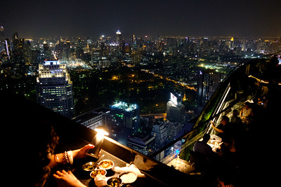 This is a rooftop bar in Bangkok called the Moon Bar. It's in three sections. Two were actually a restaurant, and the third just a bar. Drinks were really expensive for Thailand (maybe $9?), but, of course, you're paying for the view, which was spectacular.