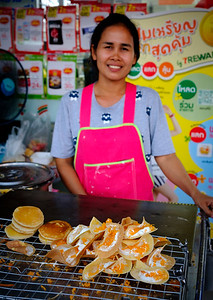 Street food vendor in Bangkok. Our guide Nu bought us a bunch of these crepe-like things one day, and they were sweet and delicious.