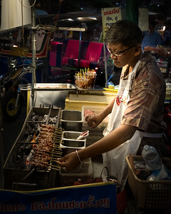 Chinatown in Bangkok. I was told to be careful which street vendor food I ate, but that anything I could see being grilled, like this, would be fine.