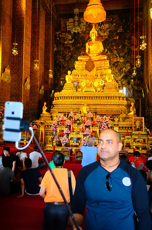 If you don't have a picture, it didn't happen, right? I don't know this fellow, but he was not alone in documenting his travels with a selfie stick. This was in the Grand Palace in Bangkok.