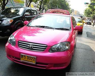 Pink Metered Taxi  Bangkok