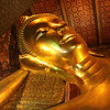 Reclining with right hand supporting the head is resting Buddha.